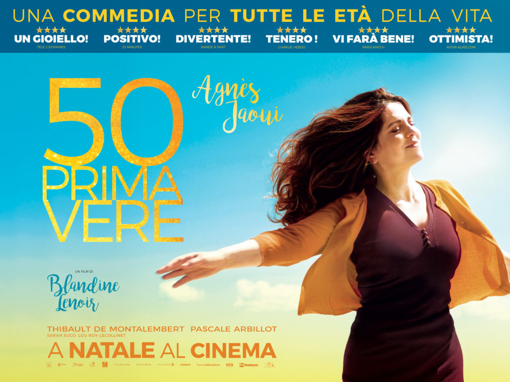 Agnès Jaoui sulla locandina di 50 Primavere, dal 21 dicembre al cinema.