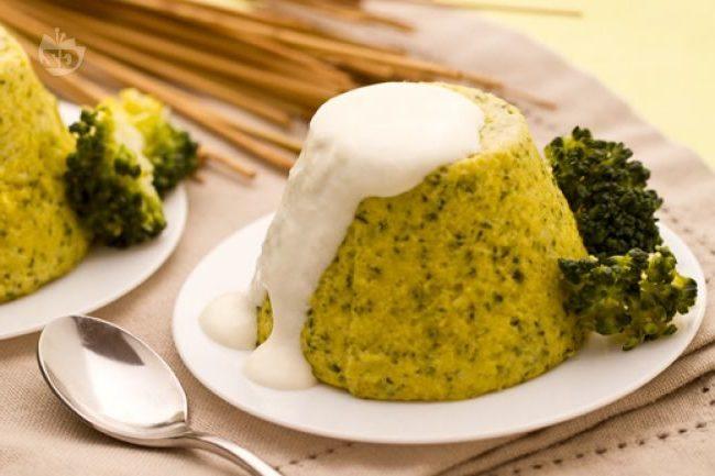 Flan di broccoli con fonduta di parmigiano