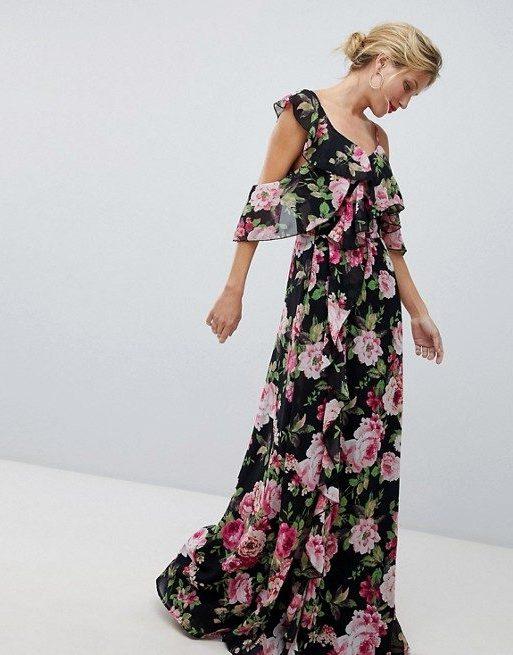 Vestito lungo a portafoglio scuro a fiori con volant - ASOS