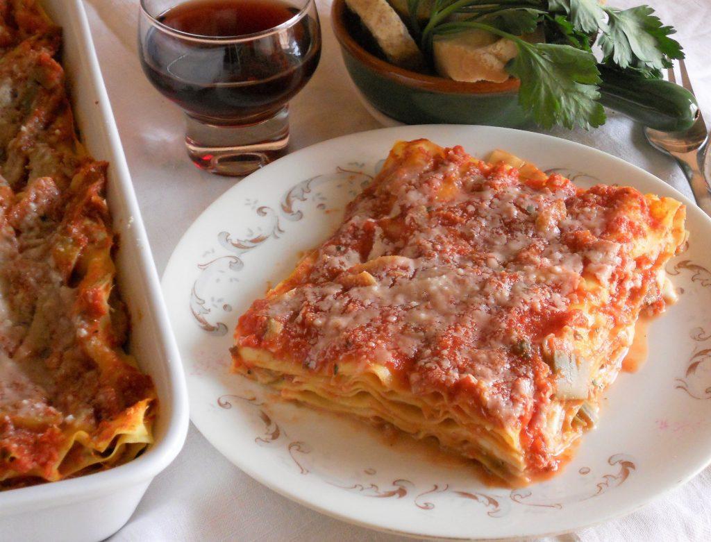 Lasagne con carciofi al sugo e fiordilatte