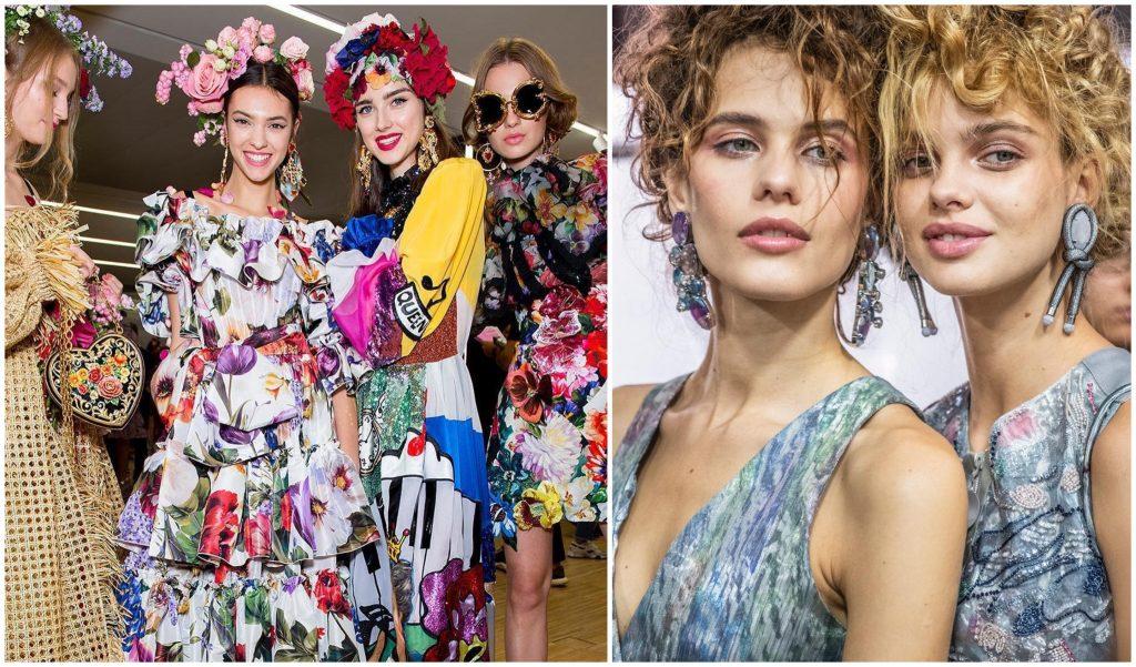 Il look beauty della Milano Fashion Week P/E 2019. In foto Dolce&Gabbana e Giorgio Armani.