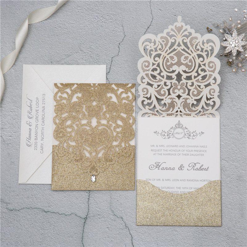 partecipazione matrimonio laser cut oro glitter