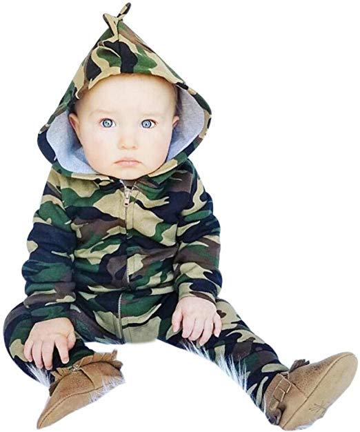 feiXIANG-Bambini-Tuta-Neonato-neonato-bambino-ragazzi-ragazze-camuffamento-Hooded-pigiama-tuta-abbigliamento-vestito-camouflage-carino-Amazon