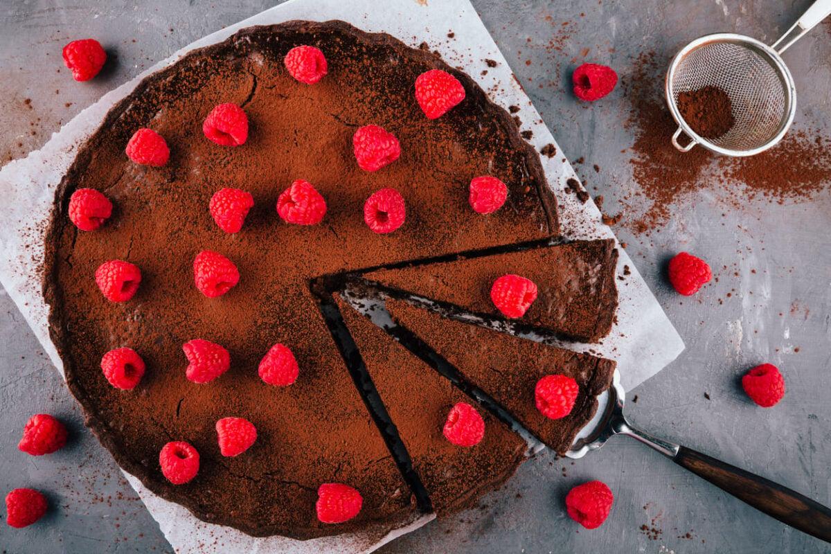 Torta cioccolato e lamponi light
