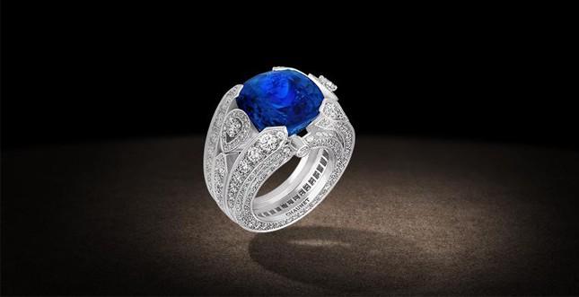 Chaumet.fr - anello in oro grigio, diamanti e calcédoines bleue