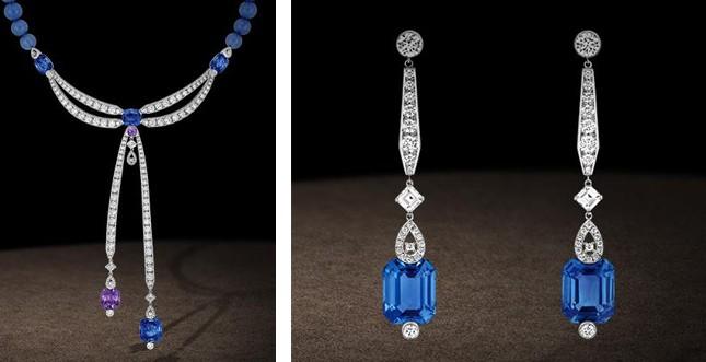 Chaumet.fr - collier e orecchini in oro grigio, diamanti e calcédoines bleue