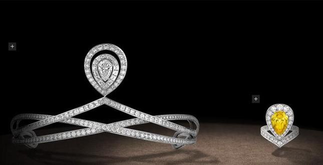 Chaumet.fr - Parure con diadema in platino e diamanti, anello con diamante giallo da 3 carati