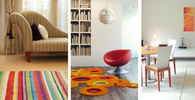 tappeti colorati e monocromo