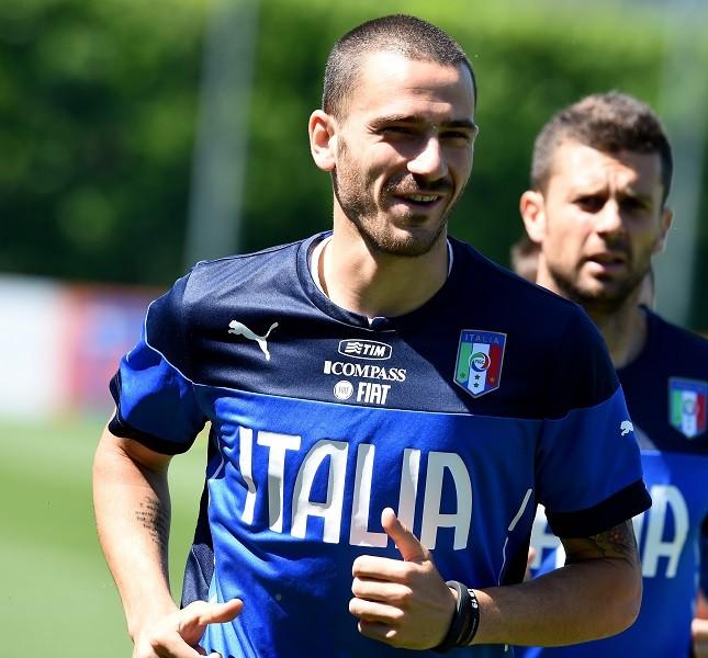Il difensore Leonardo Bonucci in allenamento