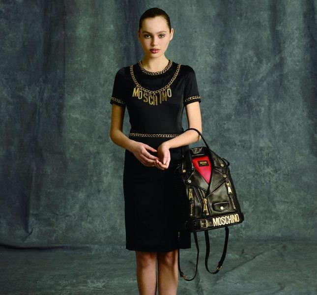 Dress elegante e borsetta ironica - Moschino pre fall 2014