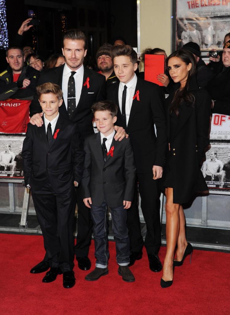 I coniugi Beckham insieme ai loro tre figli maschi. La coppia ha anche una bambina:  Harper Seven, nata nel luglio del 2011